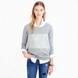J Crew Needle-Punch Lace Wool Size M Gray